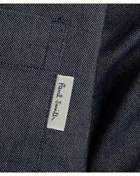 Paul Smith   Gray Grey Denim Grandad Collar Chambray Shirt for Men   Lyst