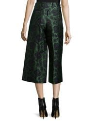 Alexander McQueen - Black Floral Jacquard Cropped Flare Pants - Lyst