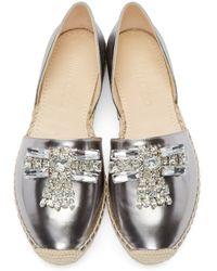 Jimmy Choo - Metallic Silver Leather Bejeweled Damask Espadrilles - Lyst