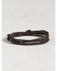 John Varvatos   Black Waxed Knotted Cord Skull Wrap Bracelet   Lyst