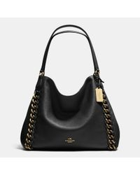 COACH - Black Edie Leather Shoulder Bag - Lyst
