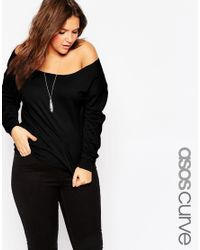 ASOS | Black Curve Off Shoulder Sweatshirt for Men | Lyst