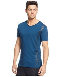 Calvin Klein | Blue Performance Geo-panel T-shirt for Men | Lyst