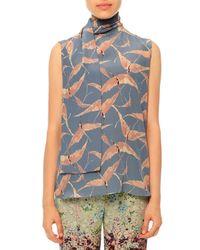 Valentino - Blue Sleeveless Bird-print Silk Neck-tie Blouse - Lyst