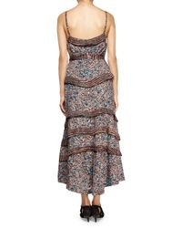 Proenza Schouler - Multicolor Geometric-print Tiered Silk Georgette Dress - Lyst