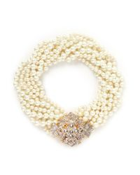 Kenneth Jay Lane - White Crystal Pavé Floral Clasp Glass Pearl Necklace - Lyst