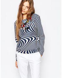 Sportmax Code - Blue Embellished Striped Sweat Top - Lyst