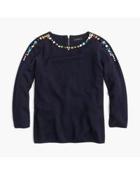 J.Crew - Blue Jeweled Crewneck Sweater - Lyst