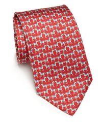 Ferragamo | Red Horse Silk Tie for Men | Lyst