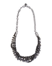 Max Mara - Gray Canada Short Leather Necklace With Jewels - Lyst