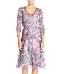 Komarov | Multicolor Print Chiffon A-line Dress | Lyst