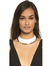 Tory Burch | White Wide Dipped Collar Necklace - Ivory/rose Gold | Lyst