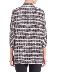 Josie Natori - Black Printed Silk Collared Tunic - Lyst