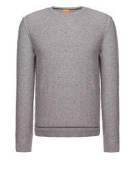 BOSS Orange | Gray Sweater 'korneli' In A Cotton Blend for Men | Lyst