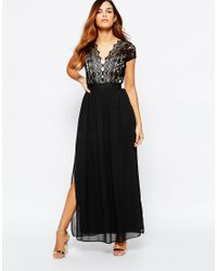 Elise Ryan | Black Scallop Lace Plunge Maxi Dress With Double Thigh Split | Lyst