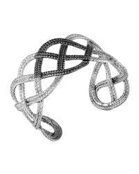 John Hardy - Metallic Classic Chain Silver Lava Wide Braided Cuff With Black Sapphire - Lyst