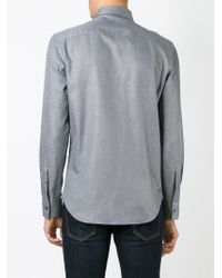 Emporio Armani - Gray Concealed Button Fastening Shirt for Men - Lyst