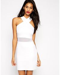 ASOS | White Cross Front Halter Mesh Insert Mini Bodycon Dress | Lyst