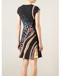 Roberto Cavalli - Black Animal Print Panelled Dress - Lyst