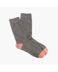J.Crew | Multicolor Tipped Striped Socks | Lyst
