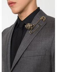 Givenchy - Metallic Safety Pin And Skull Brooch - Lyst