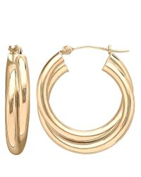 Lord & Taylor | Metallic 14kt Yellow Gold Double Polished Hoop Earrings | Lyst