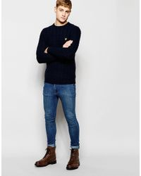 Lyle & Scott | Blue Sweater With Cable Knit for Men | Lyst