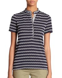 Tory Burch | Blue Lidia Patterned Polo Shirt | Lyst