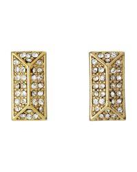 Rebecca Minkoff | Metallic Gold-Tone Rectangular Earrings | Lyst