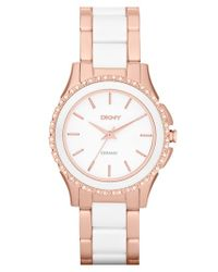 DKNY | Metallic 'westside' Round Two Tone Ceramic Bracelet Watch | Lyst