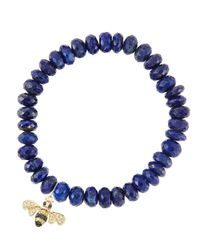 Sydney Evan - Blue 8Mm Faceted Lapis Beaded Bracelet With 14K Gold/Diamond Small Bee Charm (Made To Order) - Lyst