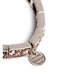 Philippe Audibert - Pink Crystal Embellished Elasticated Bracelet - Lyst