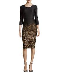 Neiman Marcus - Brown 3/4-sleeve Leopard-print Dress - Lyst