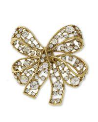 Kenneth Jay Lane | Metallic Light Antique Gold Crystal Bow Brooch | Lyst