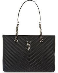 Saint Laurent | Quilted Leather Tote Bag, Women's, Black | Lyst