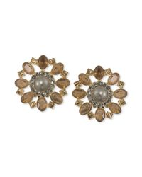 Carolee | Metallic Gold Tone Brown Crystal Cluster Flower Button Earrings Breast Cancer Research Foundation | Lyst