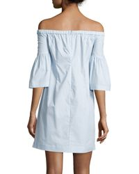 Piamita - Blue Bella Off-the-shoulder Poplin Dress - Lyst