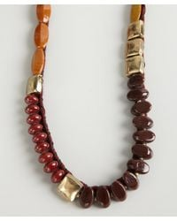 Ben-Amun - Red Oxblood Cord and Stone Bead Necklace - Lyst