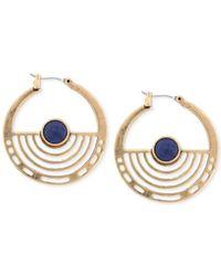 Lucky Brand - Metallic Gold-tone Blue Stone Hoop Earrings - Lyst