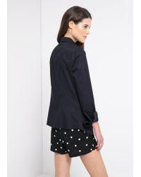 Mango - Blue Stretch Cotton Shirt - Lyst