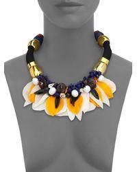 Lizzie Fortunato - Metallic Floral Frida Pearl & Rope Statement Bib Necklace - Lyst