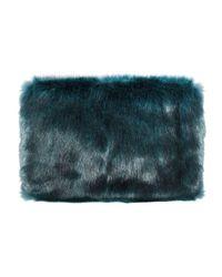 Pixie Market | Blue Teal Green Faux Fur Clutch | Lyst