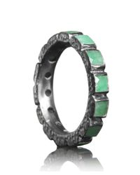 Nak Armstrong - Metallic Sterling Silver And Emerald Eternity Ring - Lyst