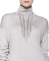 Brunello Cucinelli | Metallic Scalloped Breastplate Necklace | Lyst