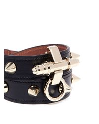 Givenchy - Metallic Obsedia Stud Double Wrap Leather Bracelet - Lyst