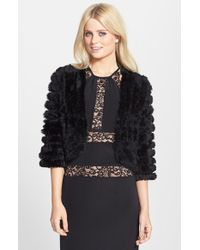 BCBGMAXAZRIA - Black Genuine Rabbit Fur Bolero - Lyst
