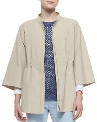 Lafayette 148 New York - Natural 3/4-sleeve Drawstring Topper - Lyst