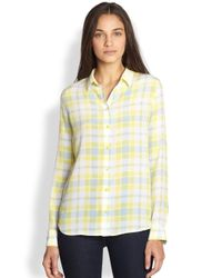 Equipment | Yellow Audrey Silk Plaid Shirt | Lyst