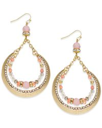 INC International Concepts | Gold-tone Pink Bead Crescent Drop Earrings | Lyst