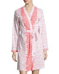 Oscar de la Renta - Multicolor Floral-Print Wrap Short Robe - Lyst
